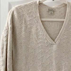 Lucky Brand beige sweater with deep vneckline